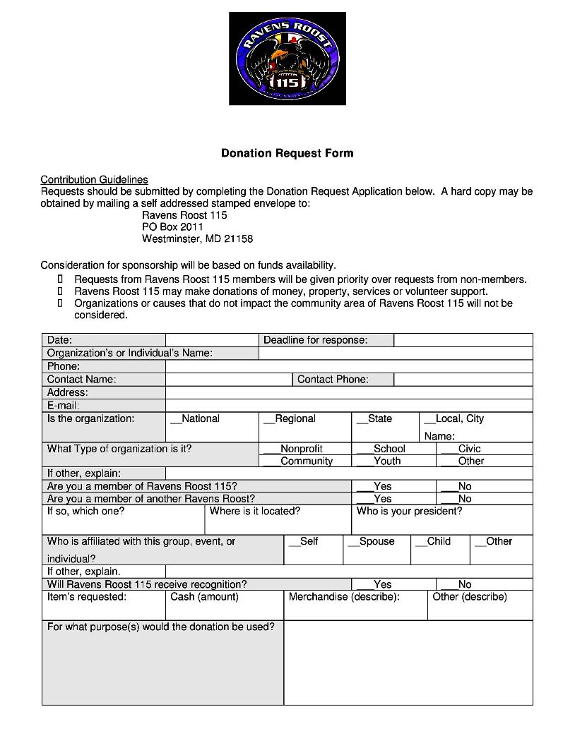 Ravens Roost 115 Westminster MD – Sponsorship Request Form