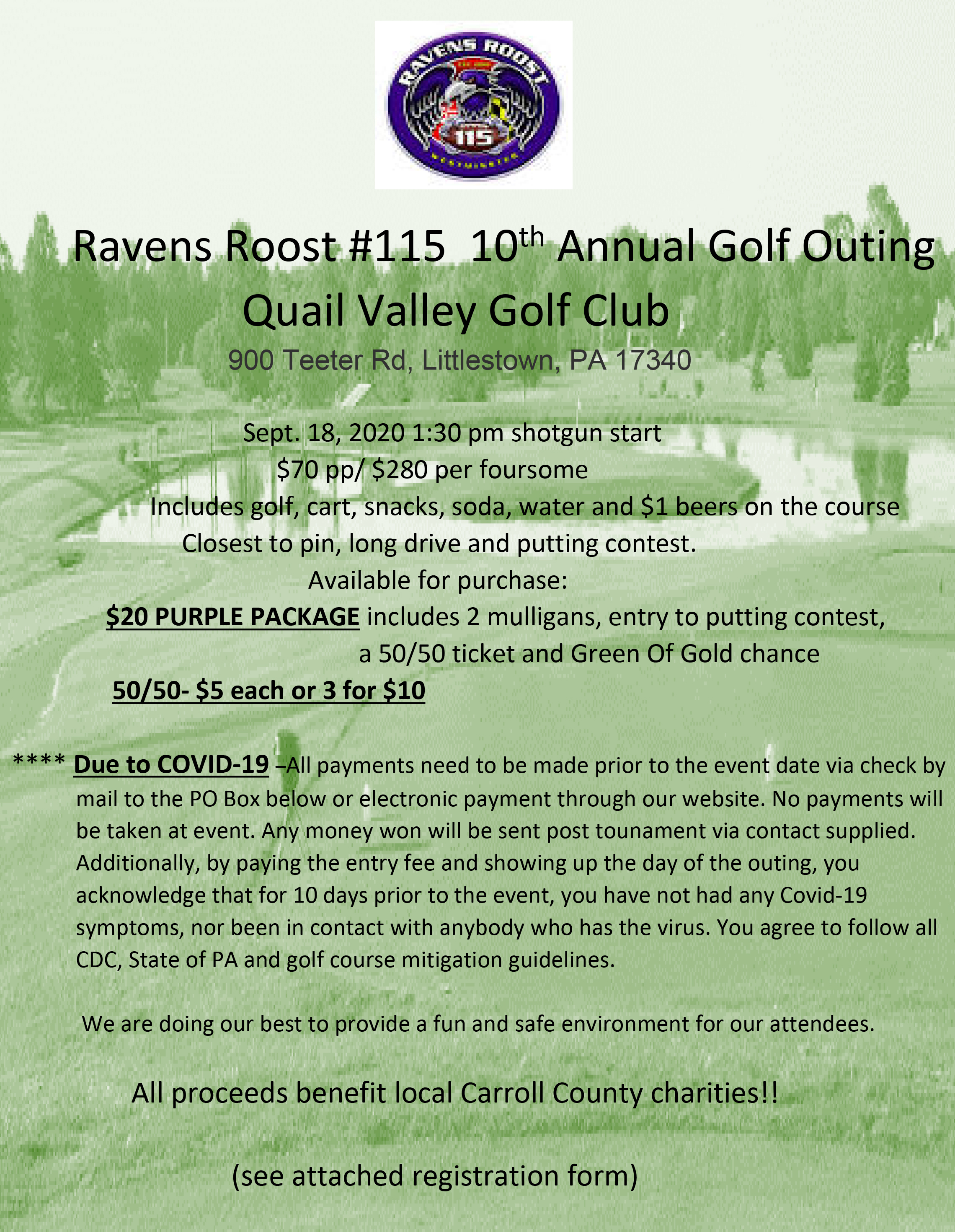 Ravens Roost 10th Annual Golf Outing Quail Valley Golf Club Littlestown, PA  Sept. 18, 2020